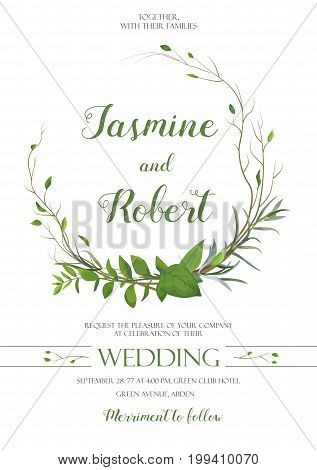 Wedding Invitation, invite card wreath Design with willow Eucalyptus tree, green leaf herb plant branches greenery mix frame composition. Vector elegant Botanical rustic Template garden. Anniversary