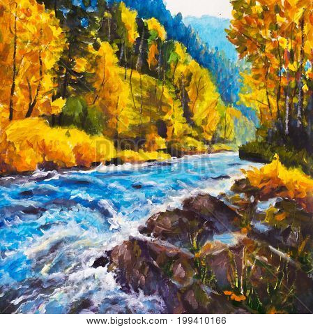 Mountain blue river running away into golden autumn - Original oil painting on canvas. Beautiful  landscape. Modern impressionism art.