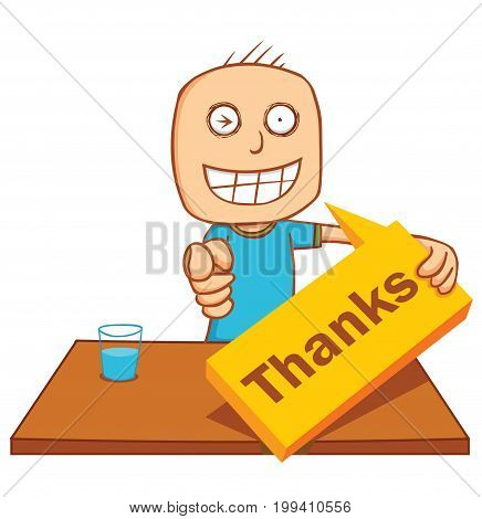 illustration of a man saying thank you
