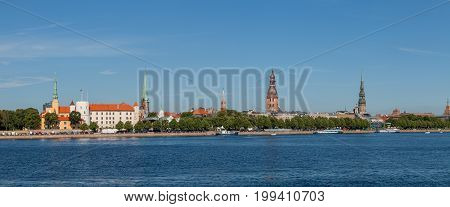 Old town of Riga summer day skyline with Daugava river