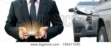 Car crash from car accident on the road in a city car pickup wait insurance smartphone call a car insurance