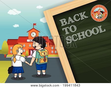 Back to school background design with chalkboard. Vector illustration