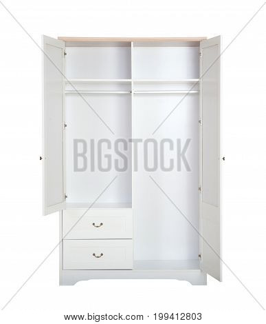 Entry Open White Wardrobe Isolated On White Background With Clipping Path.