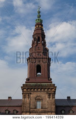 Tower of Christiansborg Castle houses the Danish Parliament and the Royal Stables.