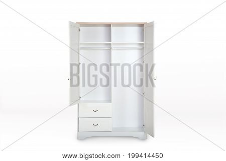 Entry Open White Wardrobe Isolated On White Background With Clipping Path And Space For Copy.