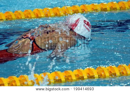 Hong Kong China - Oct 30 2016. Competitive swimmer SAVARD Katerine (CAN) swimming in the Women's Butterfly 50m Preliminary Heat. FINA Swimming World Cup Victoria Park Swimming Pool.