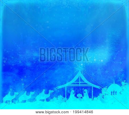 Birth of Jesus in Bethlehem - abstract card , raster