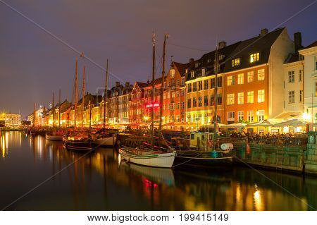 Night view of beautiful Nyhavn Canal. Copenhagen, Denmark.
