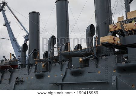 SAINT PETERSBURG, RUSSIA - 16 JUL 2016: Historic cruiser Aurora, tubes and deck, Neva river
