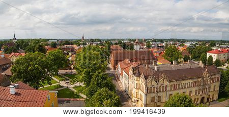 Viljandi town panoramic view from old water tower. Estonia, summertime
