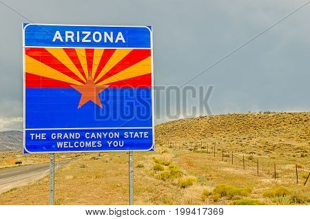 Arizona state sign to welcome travelers to the grand canyon state