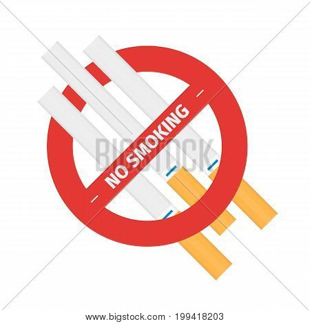 Isolated vector flat concept of sign of stop smoking cigarette. Design of quit smoking tobacco addiction symbol on white background.