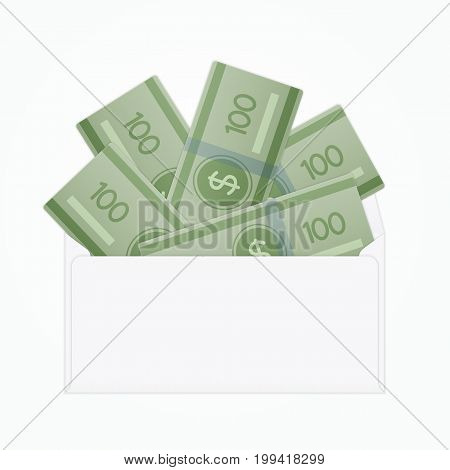 Vector opened white envelope with cash dollar money banknotes. Isolated white paper envelope with cash dollars.