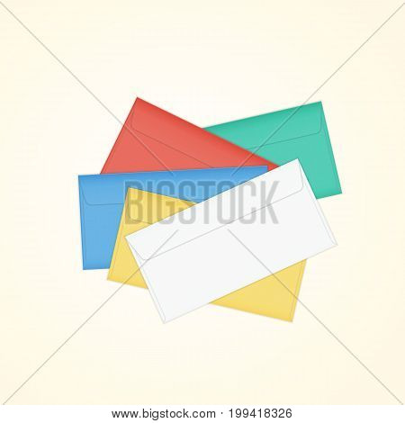 Vector closed colored pile of envelopes. Isolated illustration of different colored paper envelope stack for business letter, advertisement, invitation cards or money.