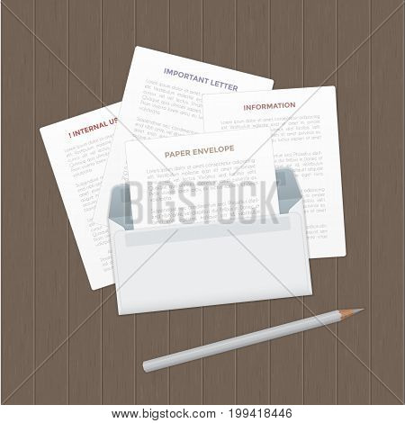 Vector opened paper envelop with letter, documents and pencil on wood table. Realistic icon of paper envelope with letter page on wood desk in top view