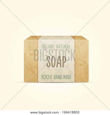 Natural handmade vector soap bar isolated on white background. Organic spa soap making.