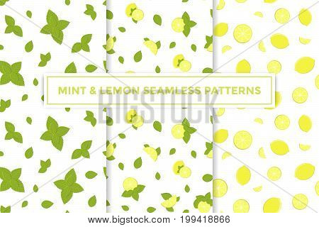 Lemon and mint vector colorful seamless patterns set for design of holiday decoration, greeting card, gift wrapping paper. Vector cheerful endless backgrounds with lemon slice and mint leaf