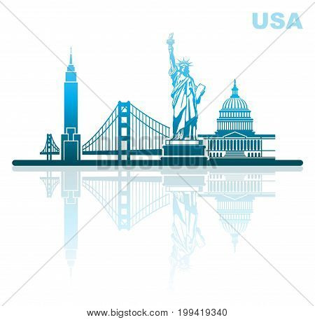 Abstract city skyline with sights of the USA