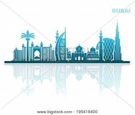 The architectural landmarks of Dubai. Abstract urban landscape