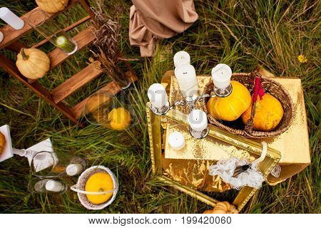 colorful and beautiful autumn Halloween outdoors decor