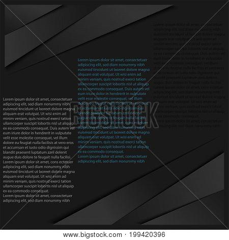 Modern Abstract Background. Black Color Tone Backdrop Vector Illustration.