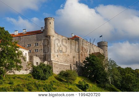 Ancient castle in old town of Tallinn. Toompea is the Estonian parliament site.