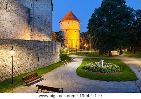 Greem park near Kiek in de Kok, from Low German means Peep into the Kitchen, it is an artillery tower in Tallinn, Estonia, built in 1475. Night view.