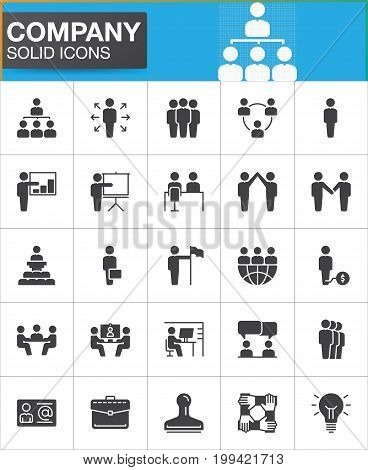 Company, Business people vector icons set, modern solid symbol collection, filled pictogram pack. Signs, logo illustration. Set includes icons as manager, team, handshake, high five, business meeting