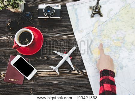 Traveler tourist planning concept on map with camera and passport. Travel Concept