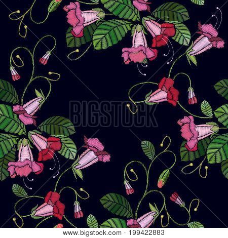 Embroidery flowers bells seamless pattern. Fashionable template for design of clothes. Beautiful cornflowers classical embroidery pattern t-shirt design fashion clothes template