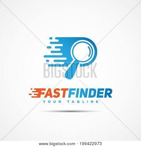 Fast finder logo template design. Vector illustration.