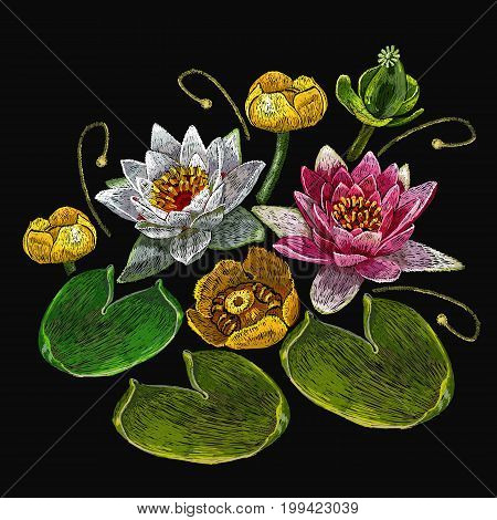 Embroidery water lily flowers. Classical embroidery lotus and water lilies template fashionable clothes t-shirt design print art