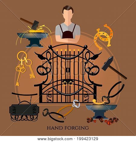 Professional smith vector. Forging on gland creation of iron fencings and fences. Iron works. Blacksmith hammer and anvil work in smithy