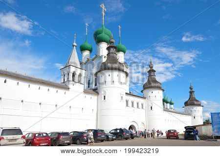ROSTOV GREAT, RUSSIA - JULY 19, 2017: At the entrance to the Rostov Kremlin on a sunny July day. The Golden ring of Russia