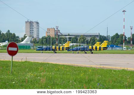 ZHUKOVSKY, RUSSIA - JULY 20, 2017: Airplanes of the aerobatic team