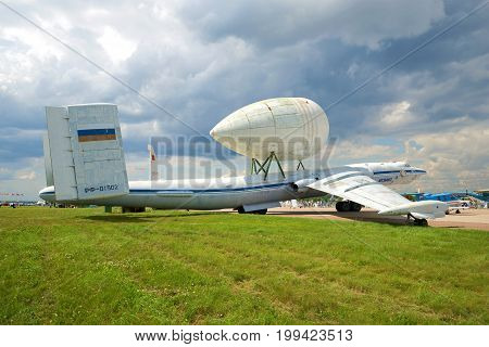 ZHUKOVSKY, RUSSIA - JULY 20, 2017: VM-T Atlant - the heavy transport plane of experimental design bureau of Myasishchev on the MAKS-2017 air show
