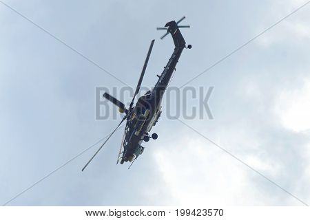 ZHUKOVSKY, RUSSIA - JULY 20, 2017: Demonstration flight of the fighting shock Mi-28ne helicopter at an air show of