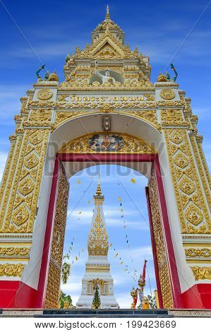 Main Doorway To Buddhist Temple Of Wat Phra That Phanom Houses Famous Stupa Containing Buddha's Brea