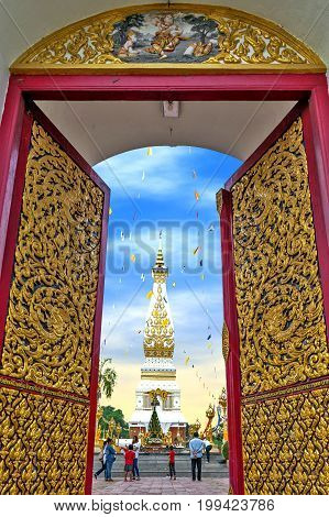 Nakhon Phanom Thailand - May 2017: Main doorway to Buddhist temple of Wat Phra That Phanom houses famous stupa containing Buddha's breast bone in Nakhon Phanom Province northeastern Thailand