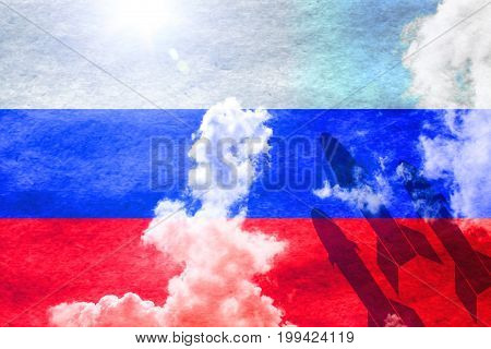 Russian flag shining through a sunny blue sky background and 3 missiles starting from the right