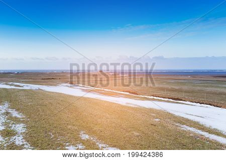 Winter season gry glass landscape skyline with blue sky background natural landscape background