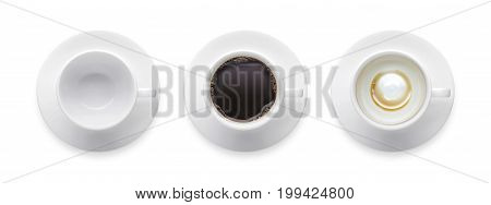 empty coffee cup black hot coffee cup. 3 style coffee cup isolate on white background with clip path. Top view