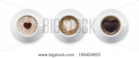 3 styles for coffee lover. heart shape love symbol on black hot coffee cup lover sign on Coffee cup of LATTE Cappuccino Mocha isolate on white background with clip path.