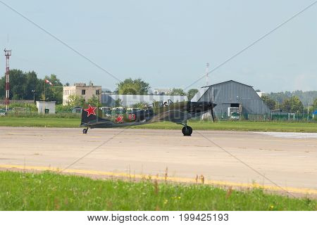 ZHUKOVSKY, RUSSIA - JULY 20, 2017: Soviet attack aircraft of the Second World War Il-2 on the runway of the Zhukovsky airfield. MAKS-2017 Air Show