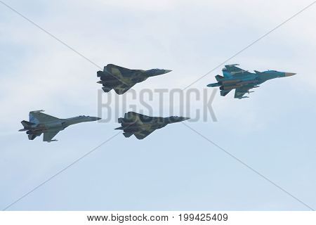 ZHUKOVSKY, RUSSIA - JULY 20, 2017: A group of Russian military aircraft on a demonstration show. MAKS-2017 Air Show