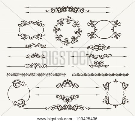 Set of calligraphic design elements for page decor. Filigree floral vector collection