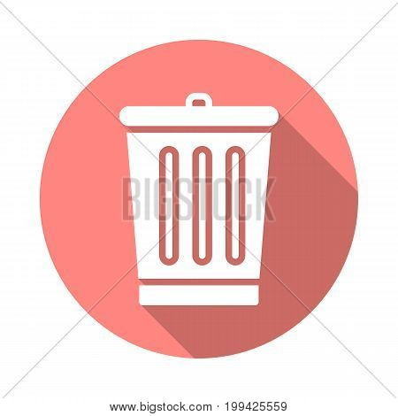 Trash bin flat icon. Round colorful button, Delete circular vector sign with long shadow effect. Flat style design