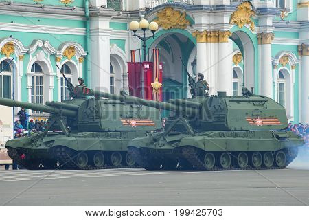SAINT-PETERSBURG, RUSSIA - MAY 07, 2017: Self-propelled artillery mount