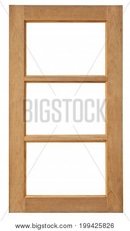 Wood Window Isolated For Home Construction On White Background.