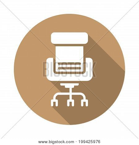Executive seat flat icon. Round colorful button, Office chair circular vector sign with long shadow effect. Flat style design